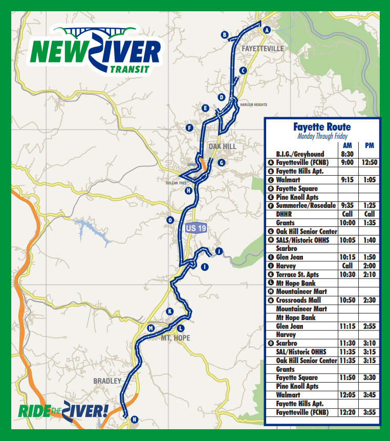 Bus Schedules New River Transit Authority